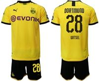 Mens 19-20 Soccer Borussia Dortmund Club #28 Axel Witsel Yellow Home Short Sleeve Suit Jersey With Team Name