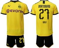 Mens 19-20 Soccer Borussia Dortmund Club #27 Marius Wolf Yellow Home Short Sleeve Suit Jersey With Team Name
