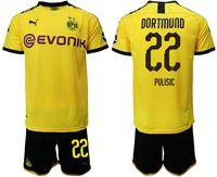Mens 19-20 Soccer Borussia Dortmund Club #22 Christian Pulisic Yellow Home Short Sleeve Suit Jersey With Team Name