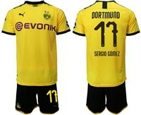 Mens 19-20 Soccer Borussia Dortmund Club #17 Sergio Gomez Yellow Home Short Sleeve Suit Jersey With Team Name
