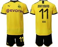Mens 19-20 Soccer Borussia Dortmund Club #11 Marco Reus Yellow Home Short Sleeve Suit Jersey With Team Name