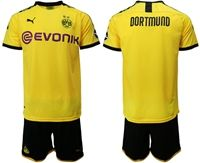 Mens 19-20 Soccer Borussia Dortmund Club (custom Made) Yellow Home Short Sleeve Suit Jersey With Team Name