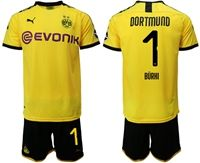 Mens 19-20 Soccer Borussia Dortmund Club #1 Roman Burki Yellow Home Short Sleeve Suit Jersey With Team Name