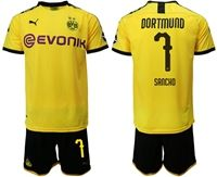 Mens 19-20 Soccer Borussia Dortmund Club #7 Jadon Sancho Yellow Home Short Sleeve Suit Jersey With Team Name