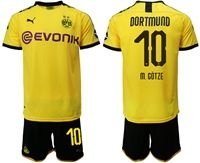 Mens 19-20 Soccer Borussia Dortmund Club #10 Mario Gotze Yellow Home Short Sleeve Suit Jersey With Team Name