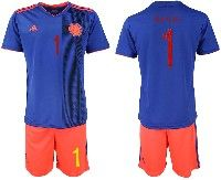 Mens 19-20 Soccer Colombia National Team #1 David Ospina Blue Away Adidas Short Sleeve Suit Jersey