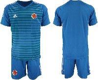Mens 19-20 Soccer Colombia National Team ( Custom Made ) Blue Goalkeeper Short Sleeve Suit Jersey