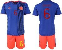 Mens 19-20 Soccer Colombia National Team #6 Carlos Sanchez Blue Away Adidas Short Sleeve Suit Jersey