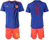 Mens 19-20 Soccer Colombia National Team #11 Juan Cuadrado Blue Away Adidas Short Sleeve Suit Jersey