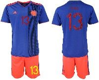 Mens 19-20 Soccer Colombia National Team #13 Yerry Fernando Mina Gonzalez Blue Away Adidas Short Sleeve Suit Jersey