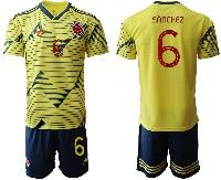 Mens 19-20 Soccer Colombia National Team #6 Carlos Sanchez Yellow Home Adidas Short Sleeve Suit Jersey