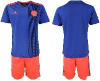 Mens 19-20 Soccer Colombia National Team Blank Blue Away Adidas Short Sleeve Suit Jersey