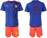 Mens 19-20 Soccer Colombia National Team #9 Radamel Falcao Blue Away Adidas Short Sleeve Suit Jersey