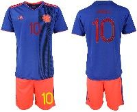 Mens 19-20 Soccer Colombia National Team  #10 James Rodriguez Blue Away Adidas Short Sleeve Suit Jersey