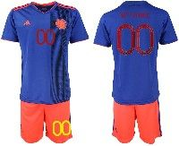 Mens 19-20 Soccer Colombia National Team ( Custom Made ) Blue Away Adidas Short Sleeve Suit Jersey