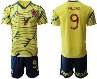 Mens 19-20 Soccer Colombia National Team #9 Radamel Falcao Yellow Home Adidas Short Sleeve Suit Jersey