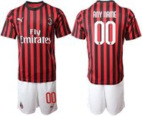 Mens 19-20 Soccer Ac Milan Club ( Custom Made ) Red And Black Stripe Home Short Sleeve Suit Jersey