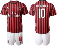 Mens 19-20 Soccer Ac Milan Club #10 Hakan Calhanoglu Red And Black Stripe Home Short Sleeve Suit Jersey