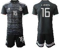 Mens 19-20 Soccer Mexico National Team #16 Hector Herrera Black Home Short Sleeve Suit Jersey