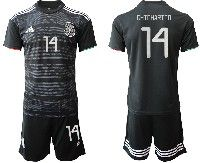 Mens 19-20 Soccer Mexico National Team #14 Chicharito Black Away Short Sleeve Suit Jersey