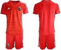 Mens 19-20 Soccer Mexico National Team Blank Red Goalkeeper Short Sleeve Suit Jersey