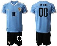 Mens 19-20 Soccer Uruguay National Team ( Custom Made ) Blue Home Short Sleeve Suit Jersey