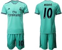 Mens 19-20 Soccer Real Madrid Club #10 Luka Modric Green Short Sleeve Suit Jersey