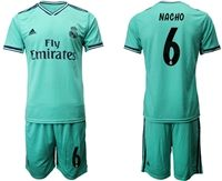 Mens 19-20 Soccer Real Madrid Club #6 Nacho Green Short Sleeve Suit Jersey