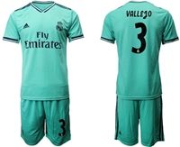 Mens 19-20 Soccer Real Madrid Club #3 Vallego Green Short Sleeve Suit Jersey