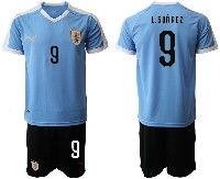 Mens 19-20 Soccer Uruguay National Team #9 Luis Suarez Blue Home Short Sleeve Suit Jersey