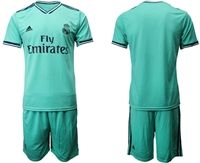 Mens 19-20 Soccer Real Madrid Club Blank Green Short Sleeve Suit Jersey