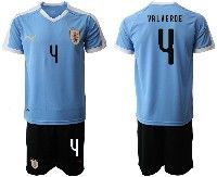 Mens 19-20 Soccer Uruguay National Team #4 Federico Valverde Blue Home Short Sleeve Suit Jersey