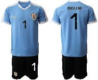 Mens 19-20 Soccer Uruguay National Team #1 Fernando Muslera Blue Home Short Sleeve Suit Jersey