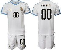 Mens 19-20 Soccer Uruguay National Team ( Custom Made ) White Home Short Sleeve Suit Jersey