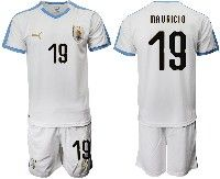 Mens 19-20 Soccer Uruguay National Team #19 Mauricio Lemos White Home Short Sleeve Suit Jersey