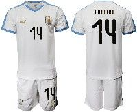 Mens 19-20 Soccer Uruguay National Team #14 Nicolas Lodeiro White Home Short Sleeve Suit Jersey