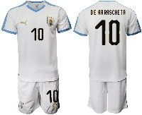 Mens 19-20 Soccer Uruguay National Team #10 Giorgian De Arrascaeta White Home Short Sleeve Suit Jersey
