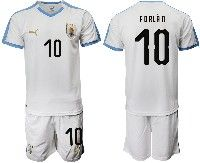 Mens 19-20 Soccer Uruguay National Team #10 Diego Forlan White Home Short Sleeve Suit Jersey