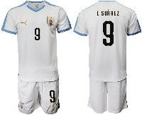 Mens 19-20 Soccer Uruguay National Team #9 Luis Suarez White Home Short Sleeve Suit Jersey
