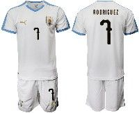 Mens 19-20 Soccer Uruguay National Team #7 Cristian Rodriguez White Home Short Sleeve Suit Jersey