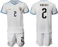 Mens 19-20 Soccer Uruguay National Team #2 Jose Maria Gimenez White Home Short Sleeve Suit Jersey