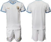 Mens 19-20 Soccer Uruguay National Team Blank White Home Short Sleeve Suit Jersey