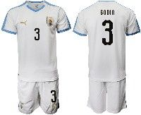 Mens 19-20 Soccer Uruguay National Team #3 Diego Godin Gimenez White Home Short Sleeve Suit Jersey