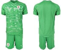 Mens 19-20 Soccer Uruguay National Team Blank Green Goalkeeper Short Sleeve Suit Jersey