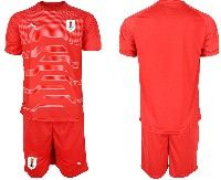 Mens 19-20 Soccer Uruguay National Team Blank Red Goalkeeper Short Sleeve Suit Jersey
