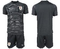Mens 19-20 Soccer Uruguay National Team Blank Black Goalkeeper Short Sleeve Suit Jersey