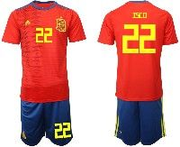Mens 19-20 Soccer Spain National Team #22 Isco Red Home Adidas Short Sleeve Suit Jersey
