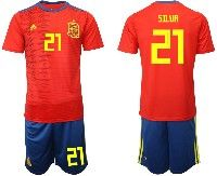 Mens 19-20 Soccer Spain National Team #21 David Silva Red Home Adidas Short Sleeve Suit Jersey
