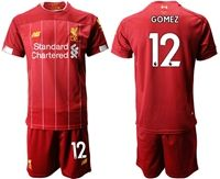Mens 19-20 Soccer Liverpool Club #12 Joe Gomez Red Home Short Sleeve Suit Jersey