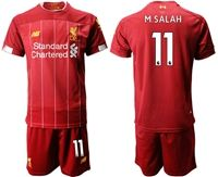 Mens 19-20 Soccer Liverpool Club #11 Mohamed Salah Red Home Short Sleeve Suit Jersey